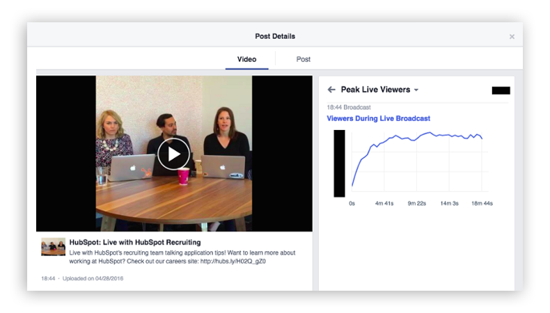 Facebook Live Insights - Screenshot