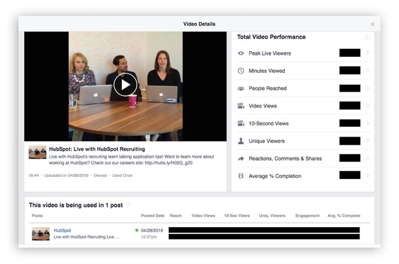 Facebook Live Metrics - Screenshot