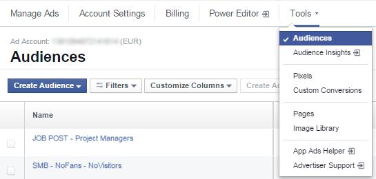Facebook Audience Overlap - Βήμα 1