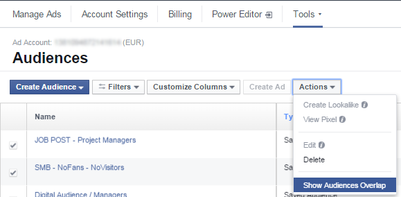 Facebook Audience Overlap - Βήμα 2