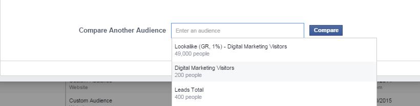 Facebook Audience Overlap - Βήμα 2 - Περισσότερα κοινά