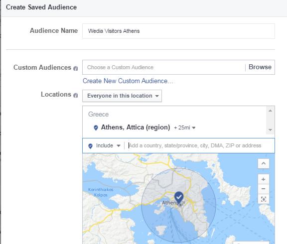 Διαφήμιση Facebook - Saved Audience Settings