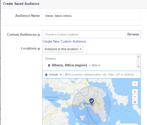 Διαφήμιση Facebook - Saved Audience Settings