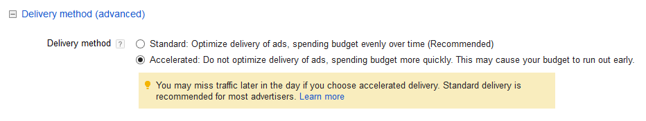 google adwords campaign delivery method