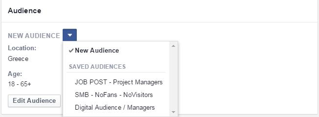Διαφήμιση Facebook - Δημιουργία νέου Audience