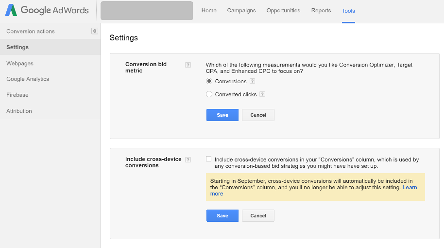 Google adwords - conversions settings - converted clicks