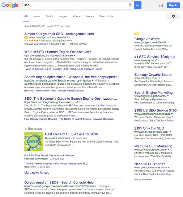 google ads in serps screenshot