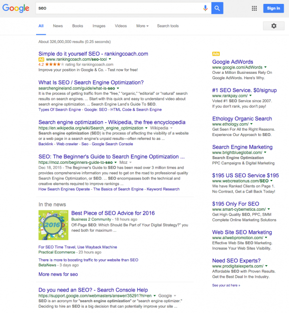 google ads in serps screenshot