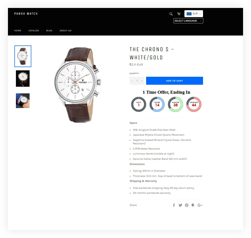 Shopify - Black Friday example