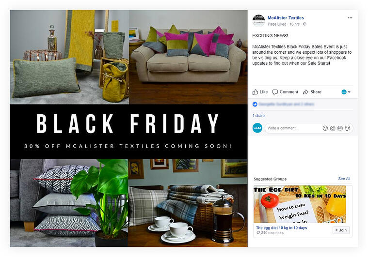 McAlister Textiles - Black Friday example