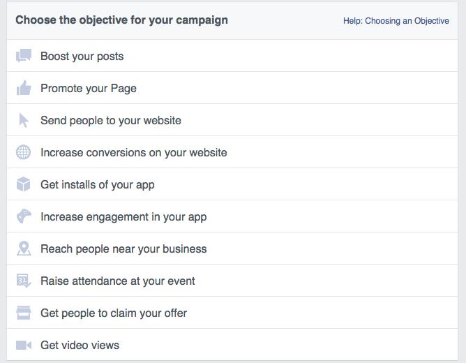 facebook ads choose objective