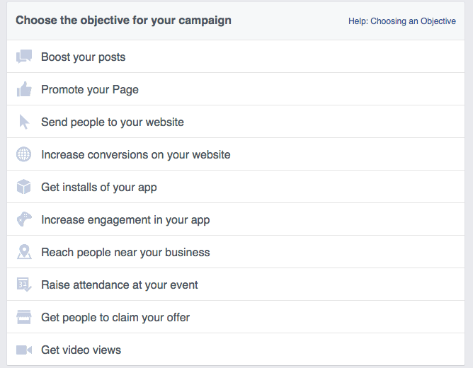 facebook ads choose objective