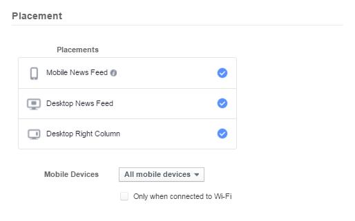 Διαφήμιση facebook - ρύθμιση συσκευής ad set