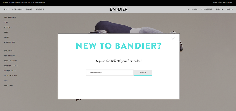 bandier sign up form