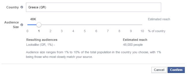Διαφήμιση facebook  - lookalike audiences size
