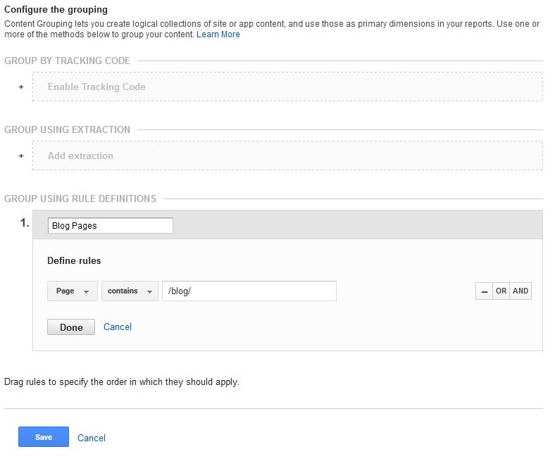 Google Analytics content grouping