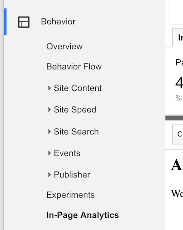 Google Analytics in page analytics