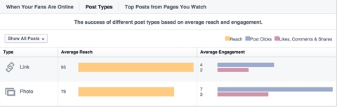 facebook marketing insights post types